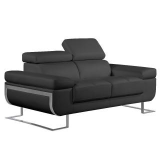 Canapé 2 places en cuir FRATTA cuir vachette recyclé noir