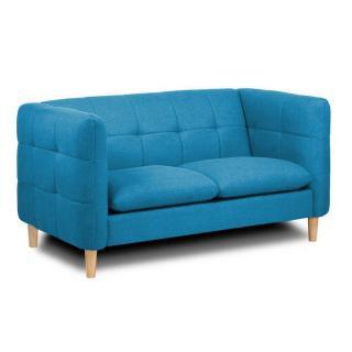 Canapé 2 places style scandinave GATTEO tissu tweed bleu azur