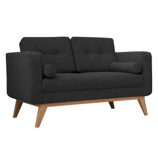 Canapé fixe 2 places HEDVIG tissu noir style scandinave
