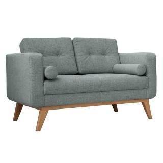 Canapé fixe 2 places HEDVIG tissu vert d'eau style scandinave