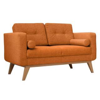 Canapé fixe 2 places HEDVIG tissu orange style scandinave