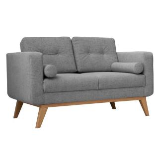 Canapé fixe 2 places HEDVIG tissu gris silex style scandinave
