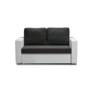 Canapé fixe JANUS 2 places bi-matière grise et blanc
