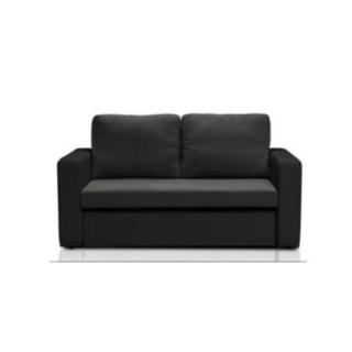 Canapé fixe JANUS 2 places bi-matière gris et noir