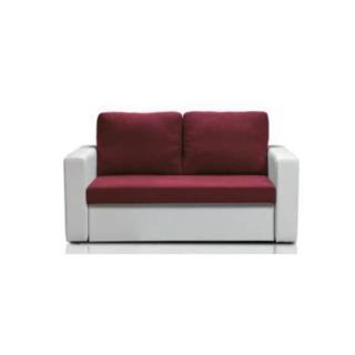 Canapé fixe ALTUS 2 places bi-matière prune et blanc