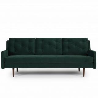 Canapé 3 places design scandinave HORTE piétement en chêne teinté noyer