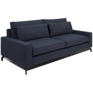 Canapé fixe 3 places style contemporain COSMO tissu tweed bleu