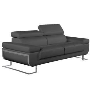 Canapé 3 places en cuir FRATTA cuir vachette recyclé gris graphite