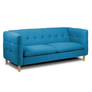 Canapé 3 places style scandinave GATTEO tissu tweed bleu azur