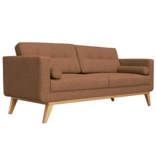 Canapé fixe 3 places HEDVIG tissu marron style scandinave
