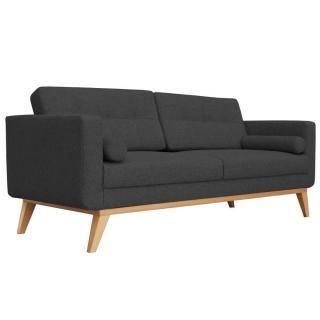 Canapé fixe 3 places HEDVIG tissu noir style scandinave