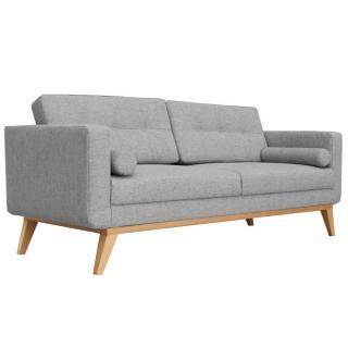 Canapé fixe 3 places HEDVIG tissu gris silex style scandinave