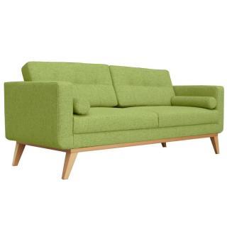 Canapé fixe 3 places HEDVIG tissu vert style scandinave