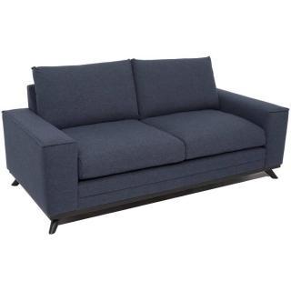 Canapé fixe 2-3 places style contemporain MALAGA tissu tweed bleu
