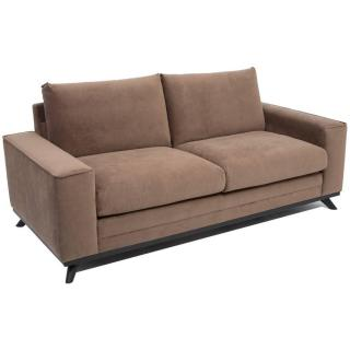 Canapé fixe 2-3 places style contemporain MALAGA velours marron