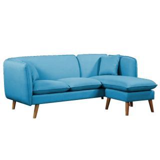 Canapé MIMA 3 places plus pouf modulable en angle style scandinave tissu tweed bleu azur