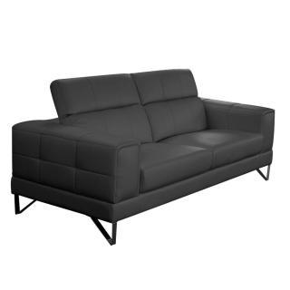 Canapé 3 places en cuir recyclé RONCO cuir vachette recyclé noir
