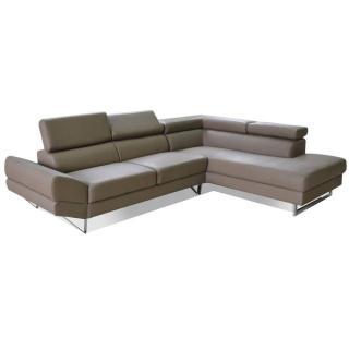 Canapé d'angle droite fixe VENISE cuir éco taupe