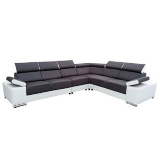 Canapé d'angle fixe réversible ERICA gris foncé et blanc têtières réglables