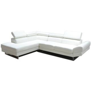 Canapé d'angle gauche fixe VENISE cuir éco blanc