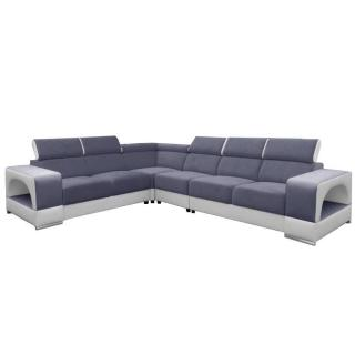 Canapé d'angle fixe réversible RAFAELLO nubuck gris et simili PUpu blanc têtières réglables