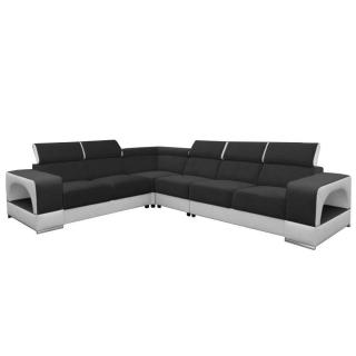 Canapé d'angle fixe réversible RAFAELLO tissu noir et simili PUpu blanc têtières réglables