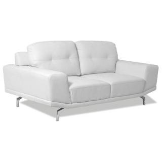 Canapé fixe relax capitonné CESENA 2 places cuir recyclé blanc dossiers pendulaires