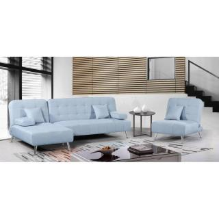 Canapé d'angle plus fauteuil DANTE tissu tweed