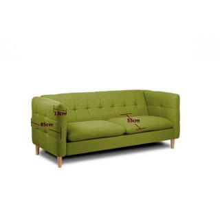 Canapé 3 places style scandinave GATTEO tissu tweed vert