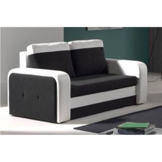Canapé fixe 2 places NYX en bi-matière noir et blanc