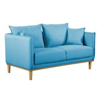 Canapé 2 places style scandinave LIZZANO tissu tweed bleu azur