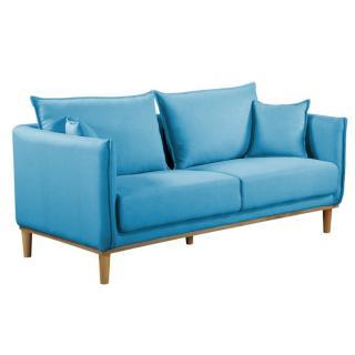 Canapé 3 places style scandinave LIZZANO tissu tweed bleu azur