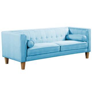 Canapé 3 places style scandinave PIAVOLA tissu tweed bleu azur