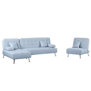 Ensemble DANTE convertible 3 pièces canapé méridienne fauteuil tissu tweed bleu ciel