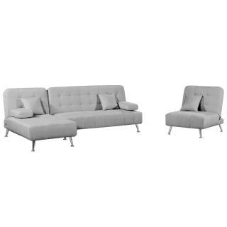Ensemble DANTE convertible 3 pièces canapé méridienne fauteuil tissu tweed gris silver