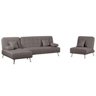 Ensemble DANTE convertible 3 pièces canapé méridienne fauteuil tissu tweed taupe