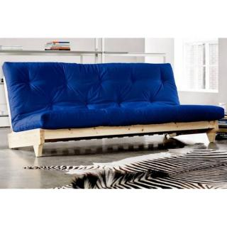 Banquette lit futon bleu royal FRESH 3 places convertible couchage 140*200cm