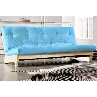 Banquette lit futon bleu clair FRESH 3 places convertible couchage 140*200cm