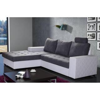 Canapé d'angle gauche gigogne convertible express WATERFORD 140cm gris et blanc