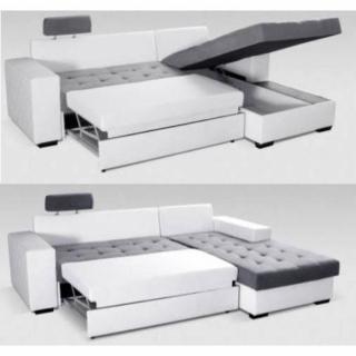 Canapé d'angle gauche gigogne convertible express WATERFORD 140cm gris et blanc