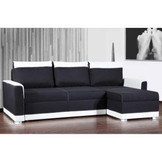 Canapé d'angle gigogne convertible CARLOW noir et blanc avec piétement Led couchage 140*195cm