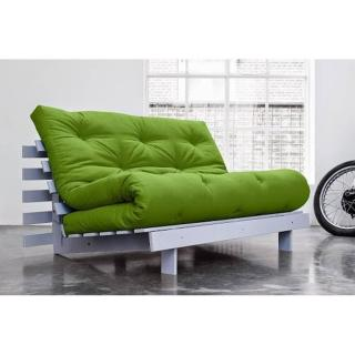 Canapé convertible gris ROOTS WHITE futon vert lime couchage 140*200cm