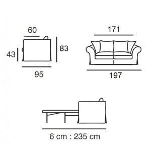 Canapé lit convertible SOFIA matelas BULTEX 143*183*6 cm ouverture RAPIDO