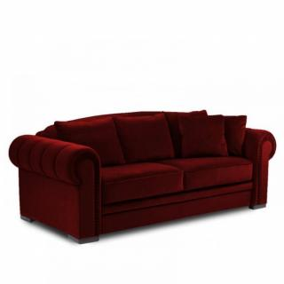 Canapé CHESTERFIELD convertible ouverture EXPRESS couchage 160 * 200 cm velours rouge