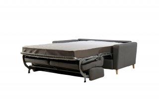 Canapé convertible express SAINT GERMAIN 140cm matelas 18cm sommier lattes tissu gris