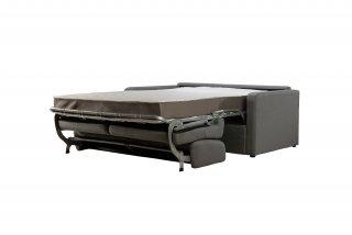 Canapé convertible express COURCELLES 140cm matelas 18cm sommier lattes tissu gris