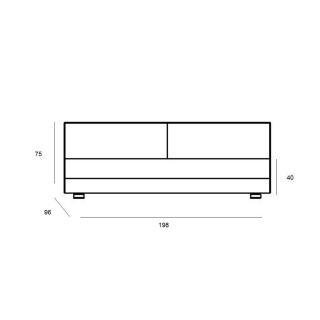 Module convertible LOUNGE 3 places en tissu laine rose couchage 160*198cm  SOFTLINE