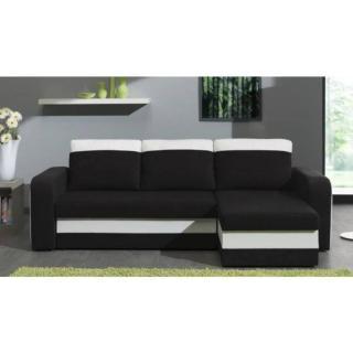 Canapé d'angle convertible express NYX 140cm bi-matière noir et blanc