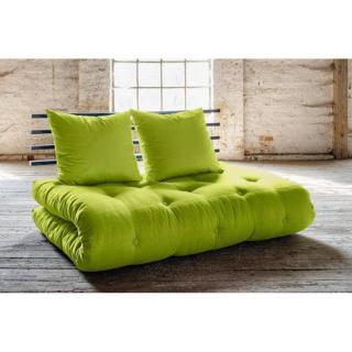 Canapé lit noir SHIN SANO futon vert pistache couchage 140*200cm