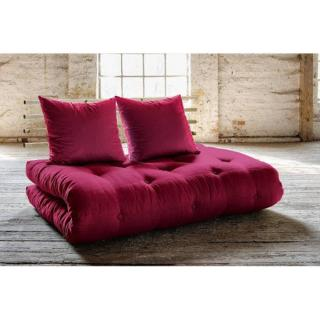 Canapé lit en pin massif SHIN SANO futon bordeaux couchage 140*200cm